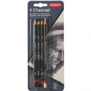 Derwent Charcoal - Coloured pencil - dark, light, medium, tinted charcoal white - pack of 4